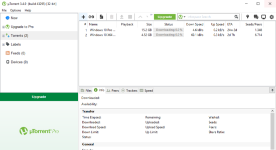Screenshot 1 for µTorrent