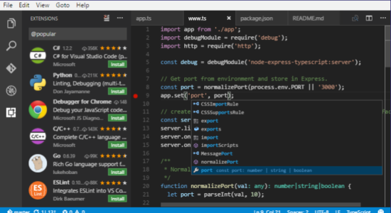 Screenshot 1 for Visual Studio Code