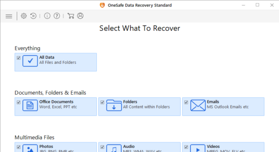 Screenshot 1 for OneSafe Data Recovery