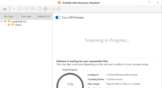 Screenshot 2 for OneSafe Data Recovery